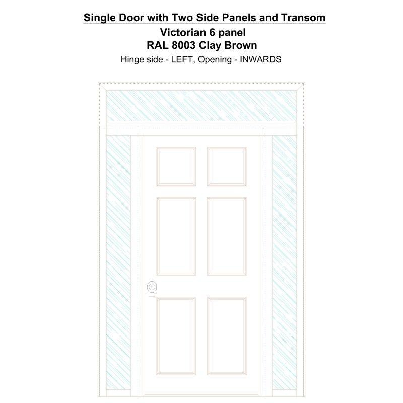 Sd2spt Victorian 6 Panel Ral 8003 Clay Brown Security Door