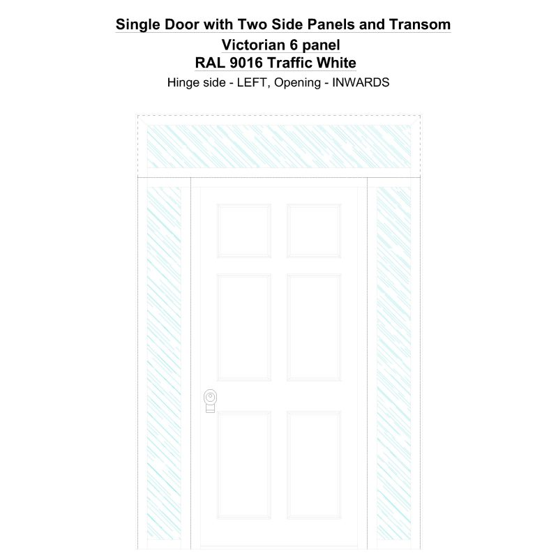 Sd2spt Victorian 6 Panel Ral 9016 Traffic White Security Door