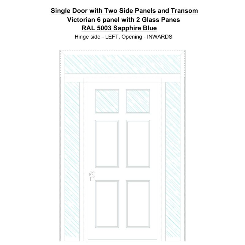 Sd2spt Victorian 6 Panel With 2 Glass Panes Ral 5003 Sapphire Blue Security Door