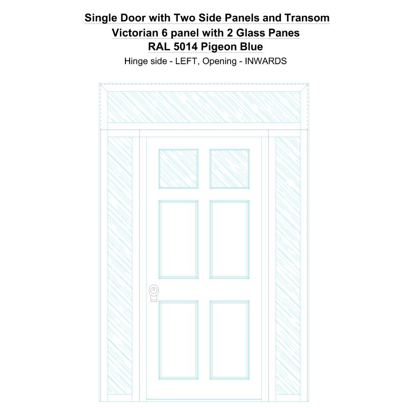 Sd2spt Victorian 6 Panel With 2 Glass Panes Ral 5014 Pigeon Blue Security Door