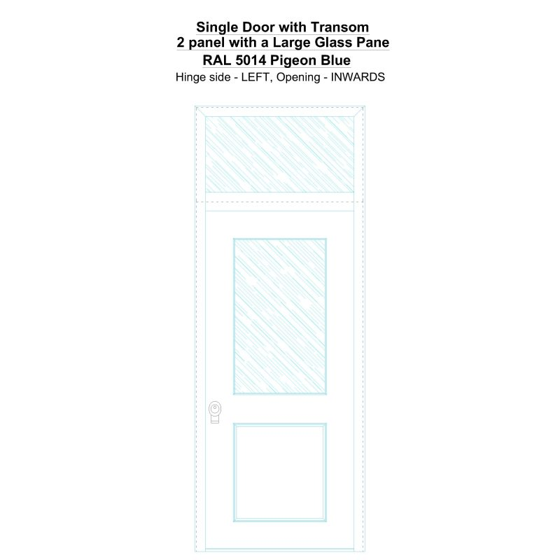 Sdt 2 Panel With A Large Glass Pane Ral 5014 Pigeon Blue Security Door