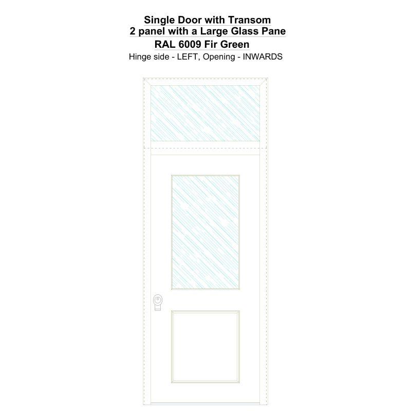 Sdt 2 Panel With A Large Glass Pane Ral 6009 Fir Green Security Door