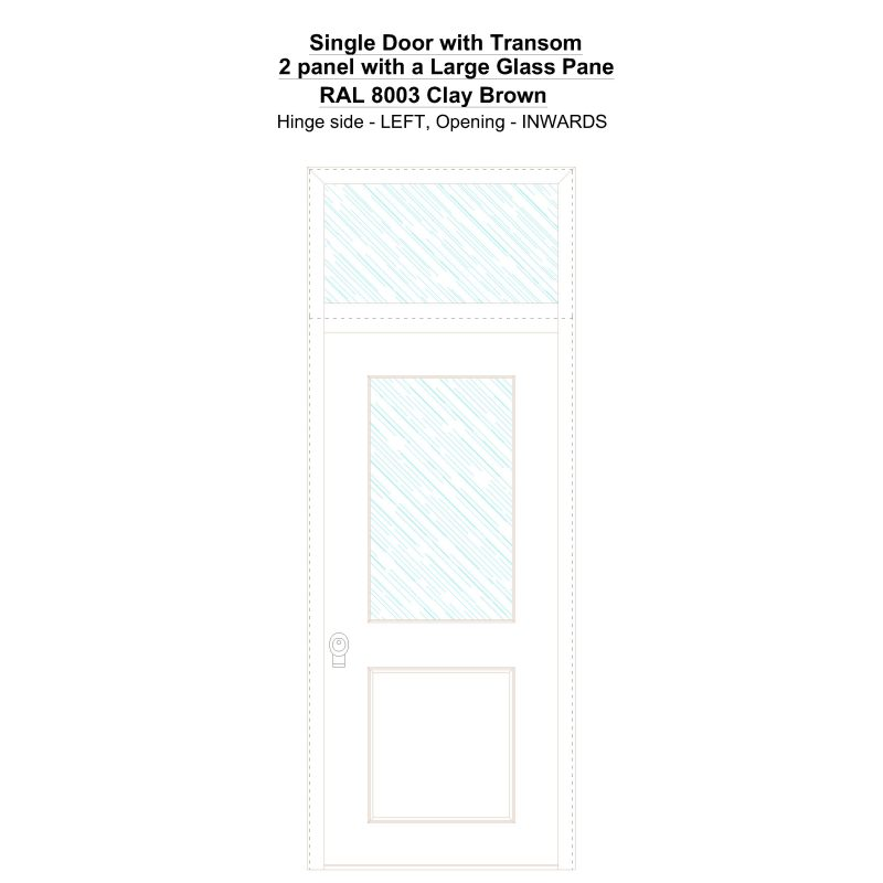 Sdt 2 Panel With A Large Glass Pane Ral 8003 Clay Brown Security Door