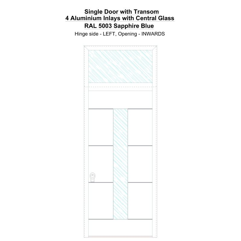Sdt 4 Aluminium Inlays With Central Glass Ral 5003 Sapphire Blue Security Door