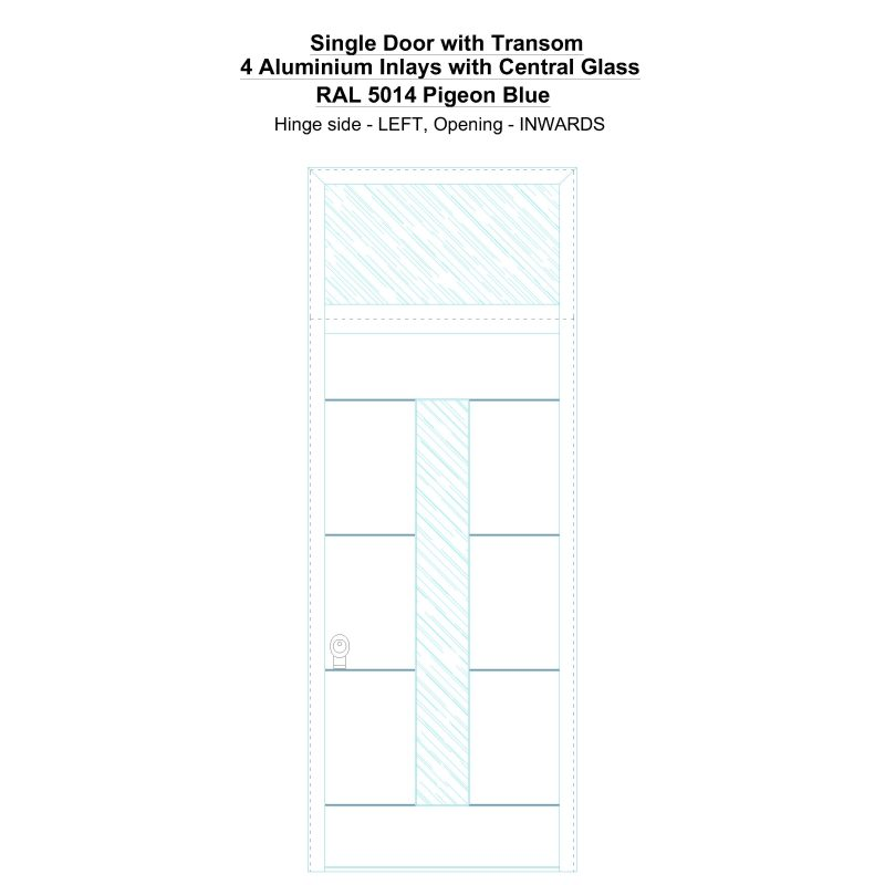 Sdt 4 Aluminium Inlays With Central Glass Ral 5014 Pigeon Blue Security Door