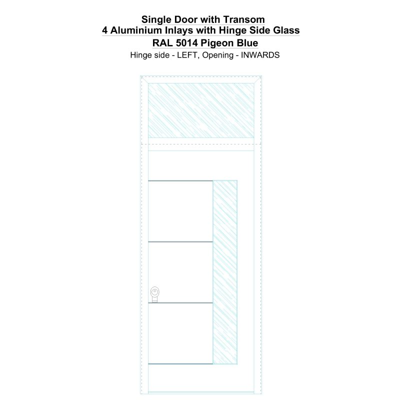 Sdt 4 Aluminium Inlays With Hinge Side Glass Ral 5014 Pigeon Blue Security Door