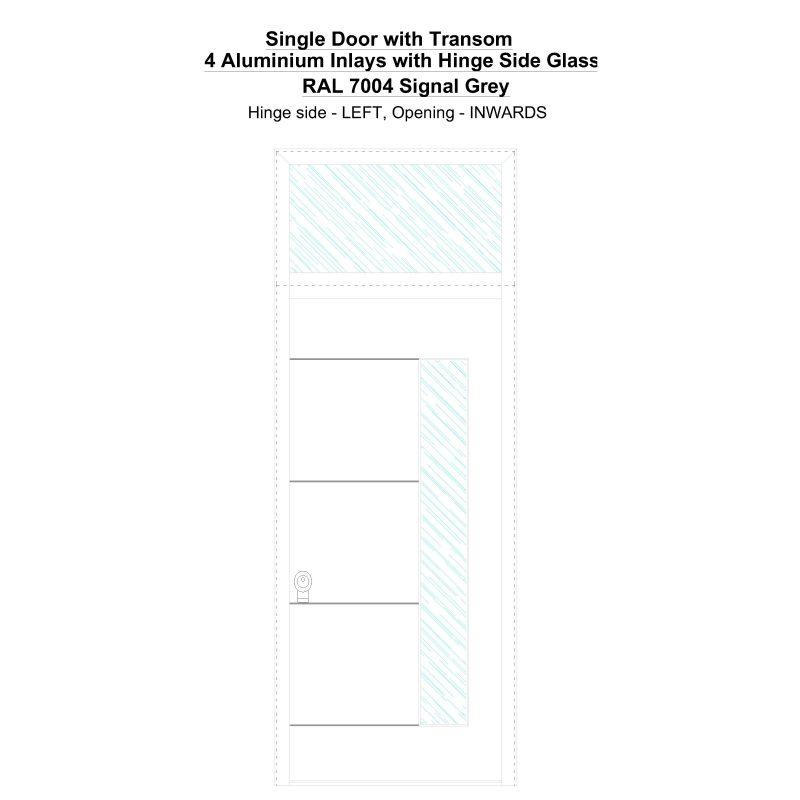 Sdt 4 Aluminium Inlays With Hinge Side Glass Ral 7004 Signal Grey Security Door