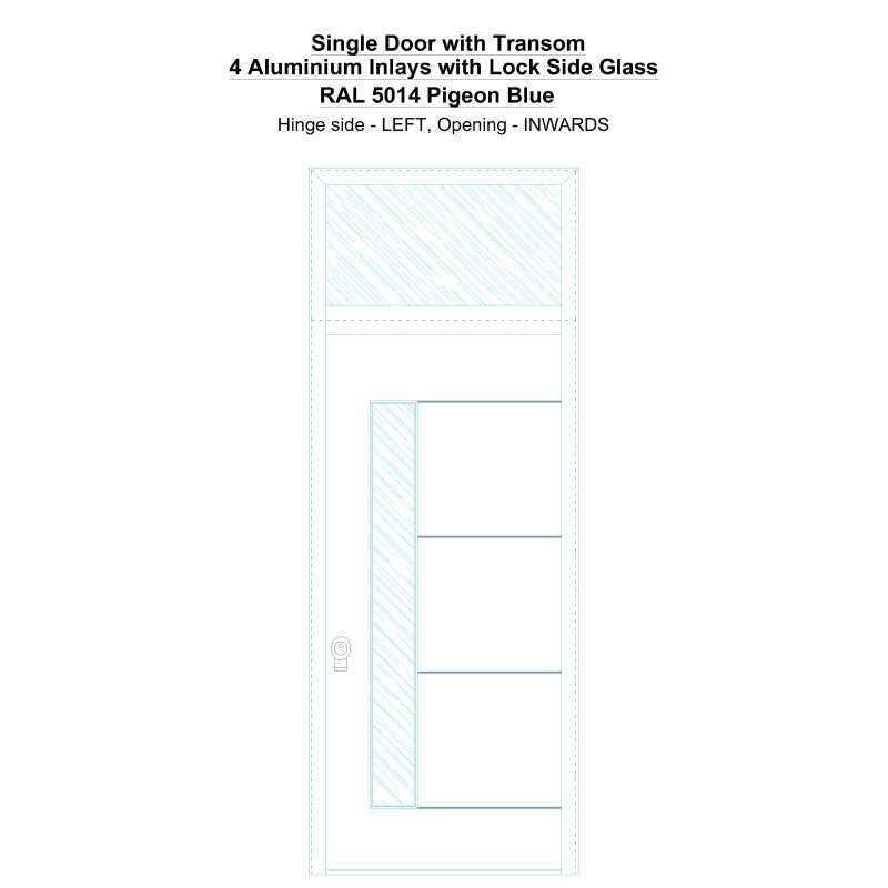 Sdt 4 Aluminium Inlays With Lock Side Glass Ral 5014 Pigeon Blue Security Door