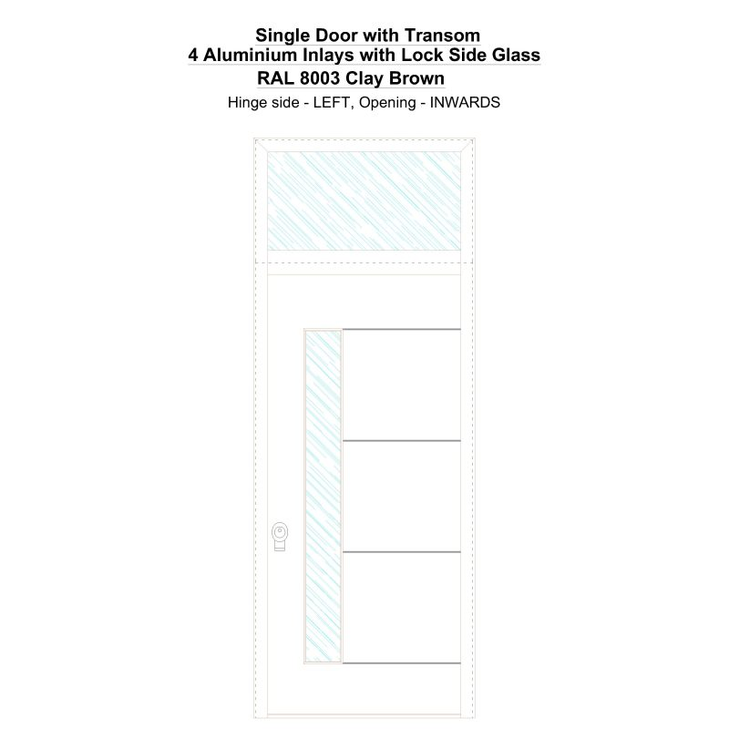 Sdt 4 Aluminium Inlays With Lock Side Glass Ral 8003 Clay Brown Security Door