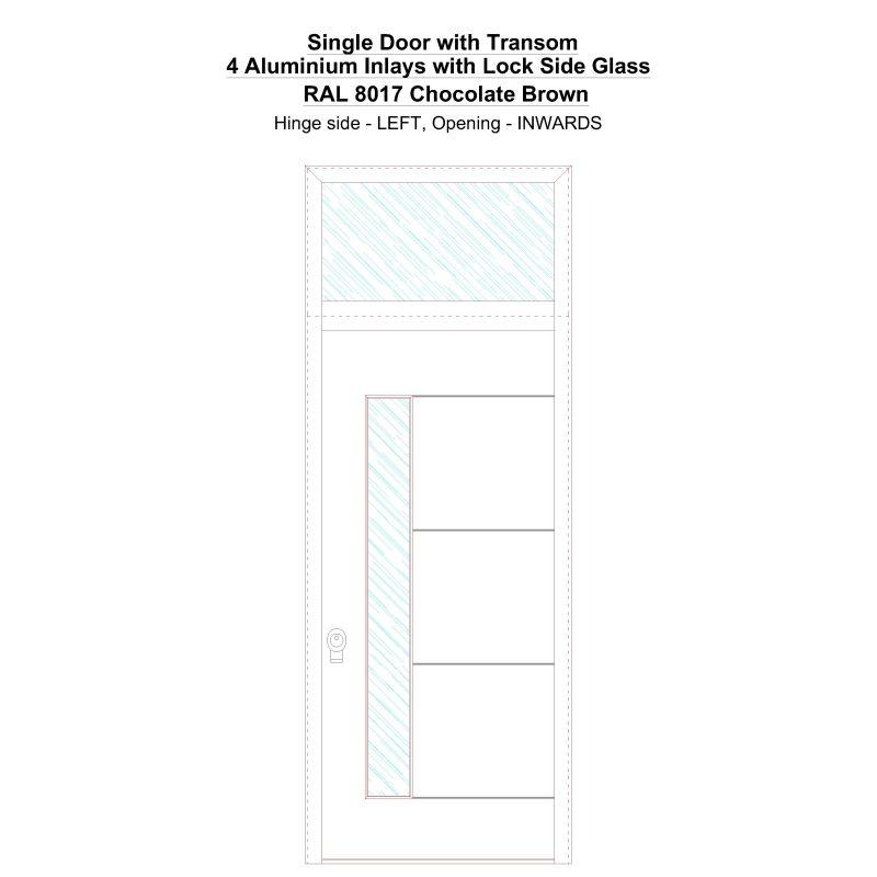 Sdt 4 Aluminium Inlays With Lock Side Glass Ral 8017 Chocolate Brown Security Door