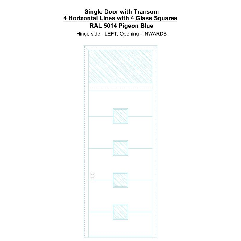 Sdt 4 Horizontal Lines With 4 Glass Squares Ral 5014 Pigeon Blue Security Door