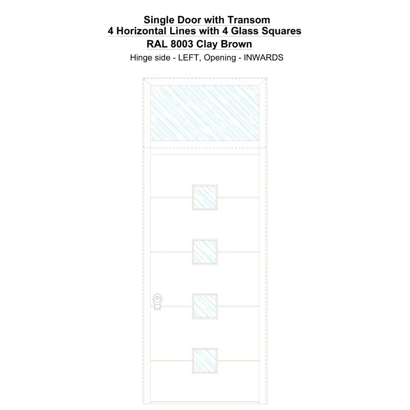 Sdt 4 Horizontal Lines With 4 Glass Squares Ral 8003 Clay Brown Security Door