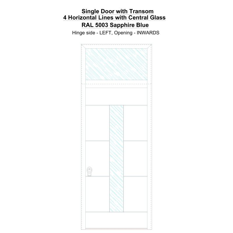 Sdt 4 Horizontal Lines With Central Glass Ral 5003 Sapphire Blue Security Door