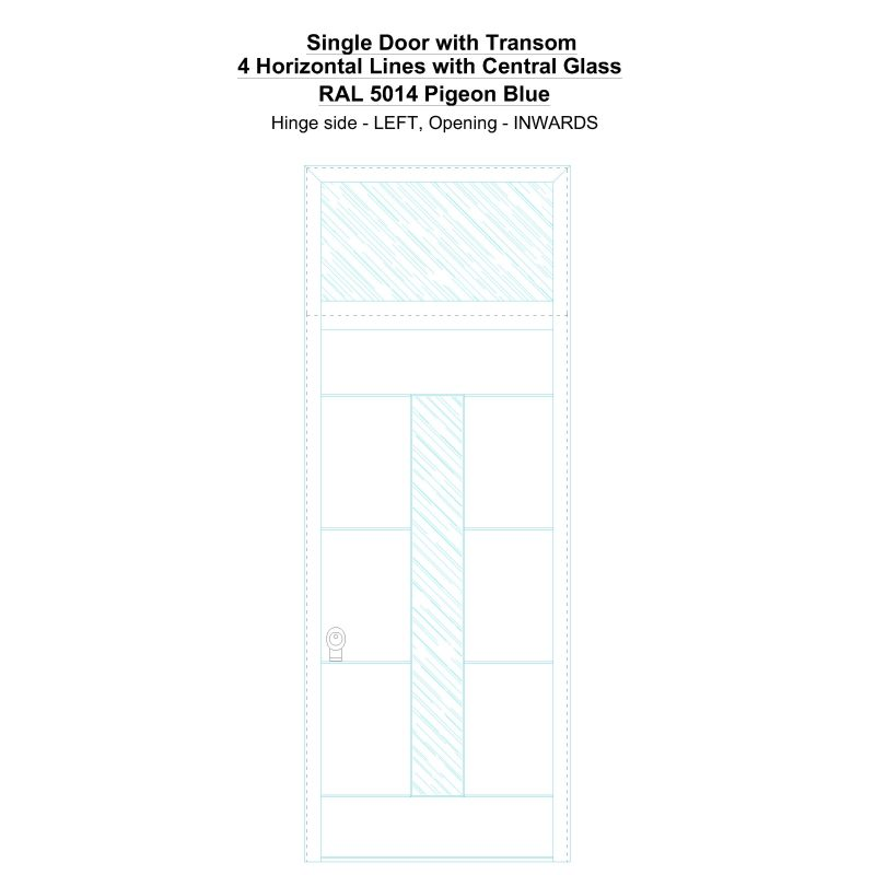 Sdt 4 Horizontal Lines With Central Glass Ral 5014 Pigeon Blue Security Door