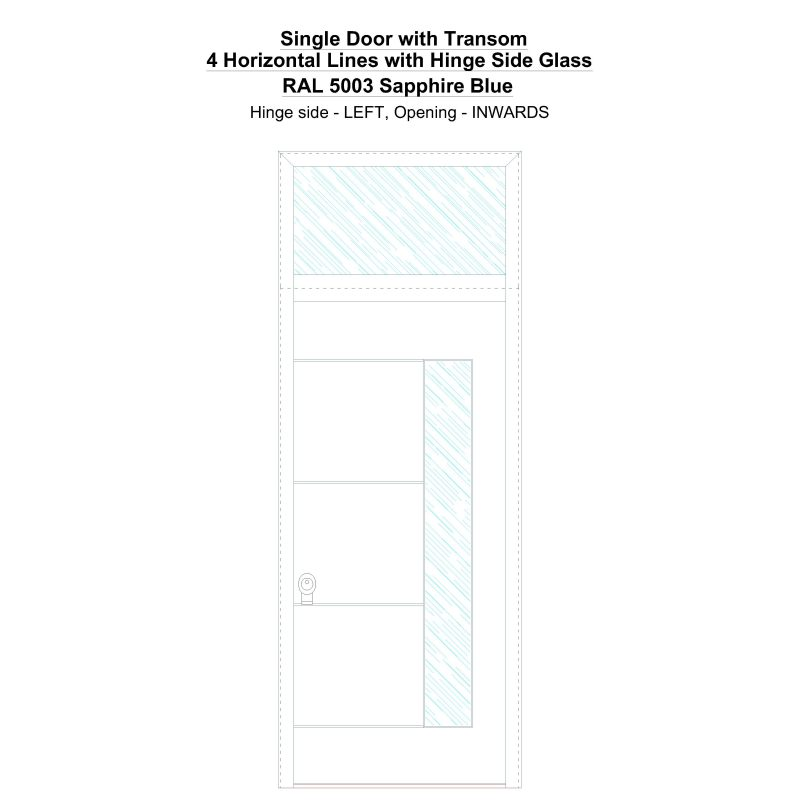 Sdt 4 Horizontal Lines With Hinge Side Glass Ral 5003 Sapphire Blue Security Door