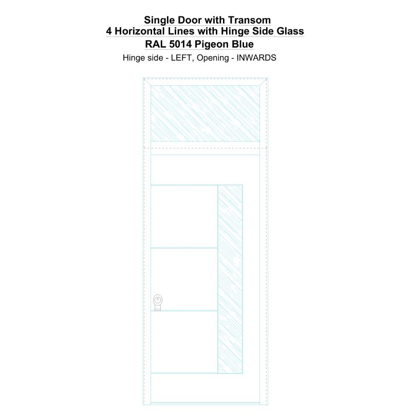 Sdt 4 Horizontal Lines With Hinge Side Glass Ral 5014 Pigeon Blue Security Door