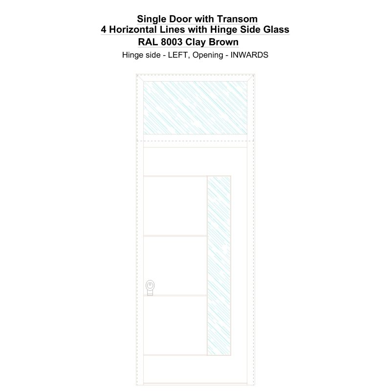 Sdt 4 Horizontal Lines With Hinge Side Glass Ral 8003 Clay Brown Security Door