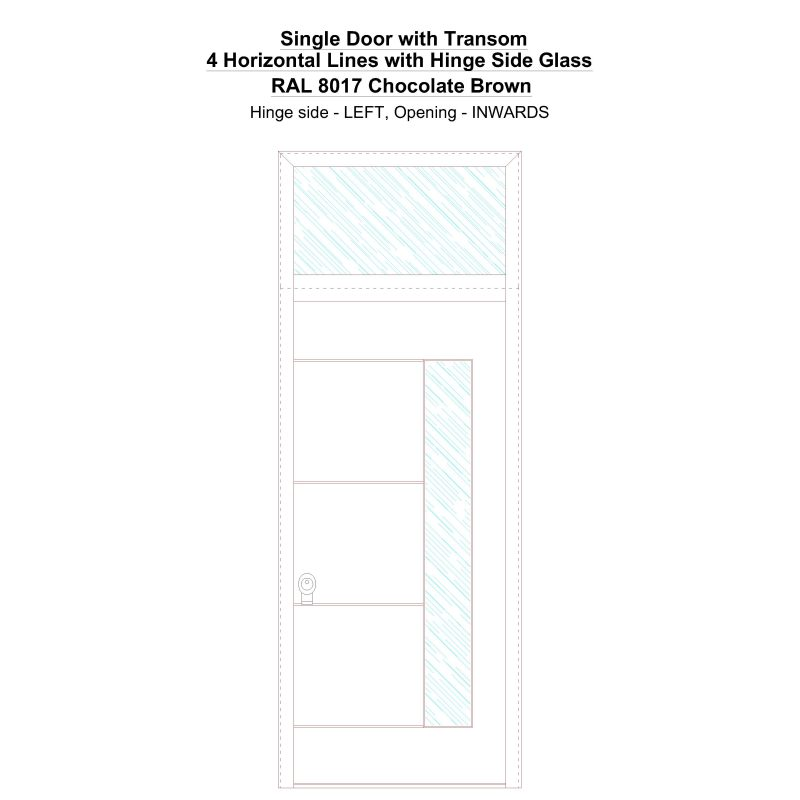 Sdt 4 Horizontal Lines With Hinge Side Glass Ral 8017 Chocolate Brown Security Door
