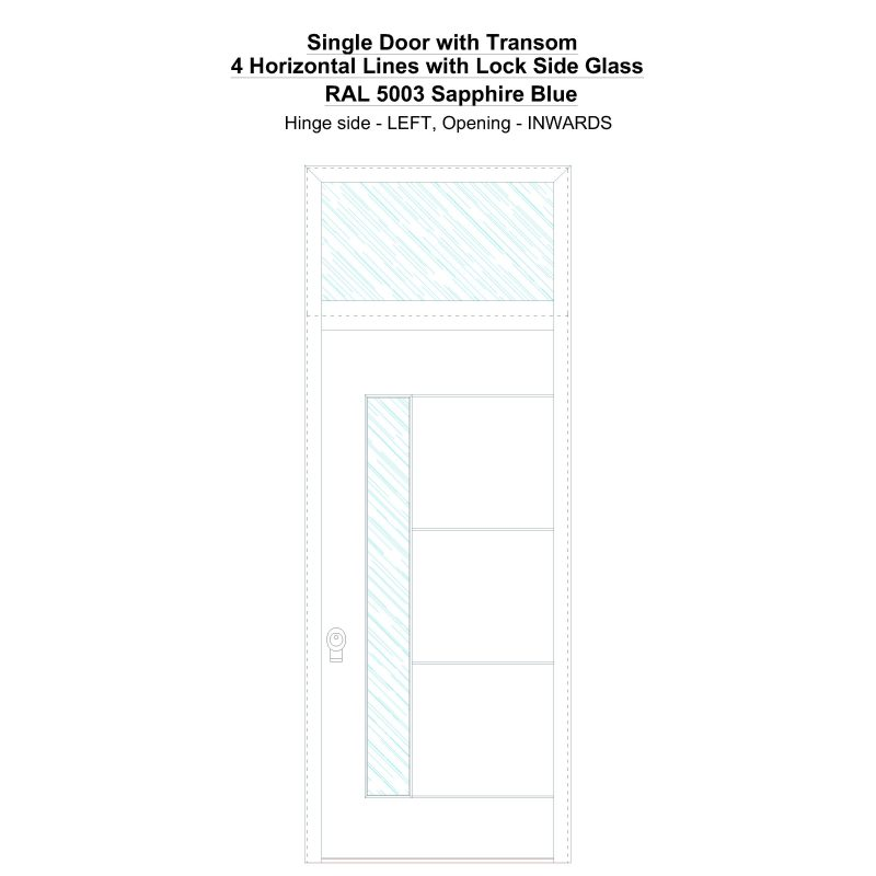 Sdt 4 Horizontal Lines With Lock Side Glass Ral 5003 Sapphire Blue Security Door