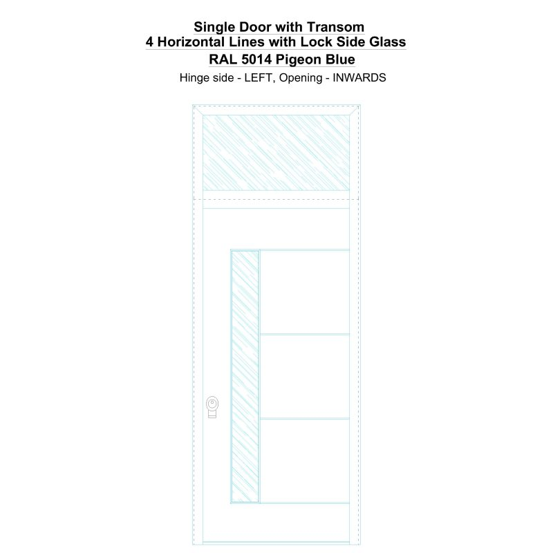 Sdt 4 Horizontal Lines With Lock Side Glass Ral 5014 Pigeon Blue Security Door