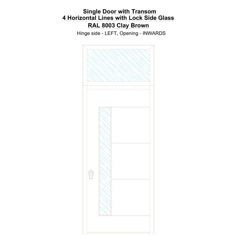 Sdt 4 Horizontal Lines With Lock Side Glass Ral 8003 Clay Brown Security Door