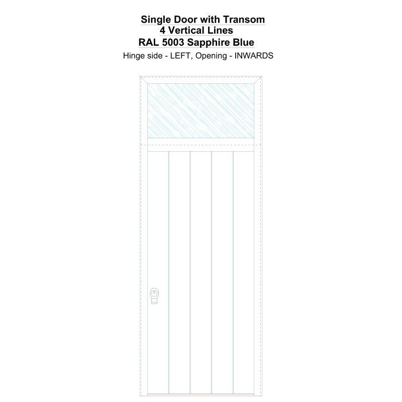 Sdt 4 Vertical Lines Ral 5003 Sapphire Blue Security Door