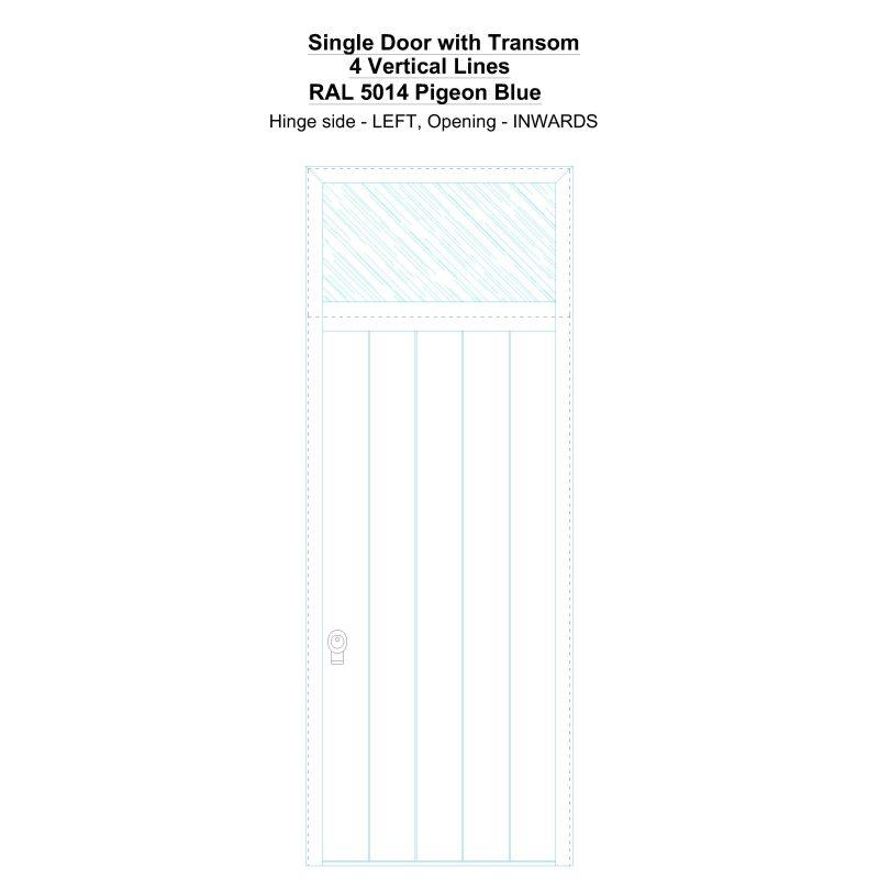 Sdt 4 Vertical Lines Ral 5014 Pigeon Blue Security Door