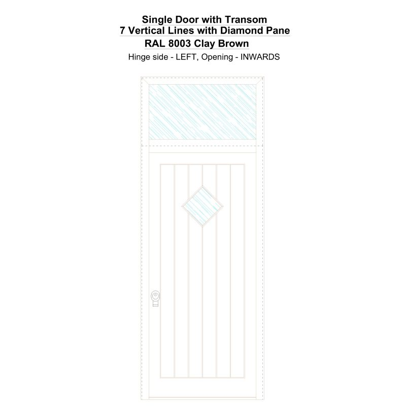 Sdt 7 Vertical Lines With Diamond Pane Ral 8003 Clay Brown Security Door