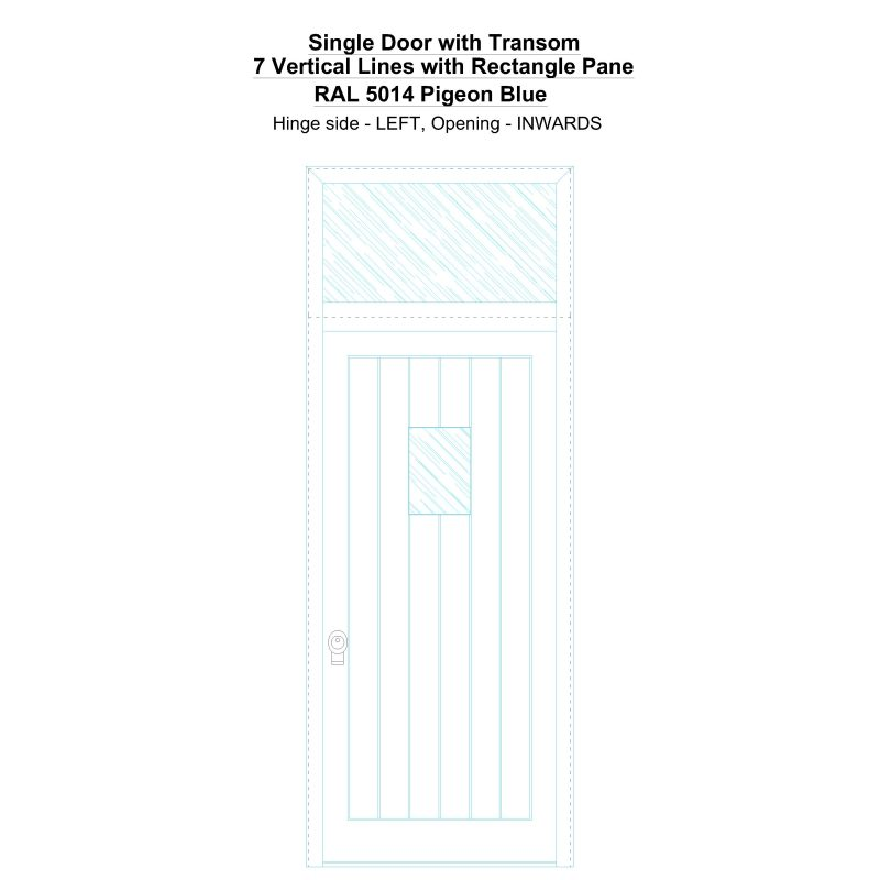Sdt 7 Vertical Lines With Rectangle Pane Ral 5014 Pigeon Blue Security Door