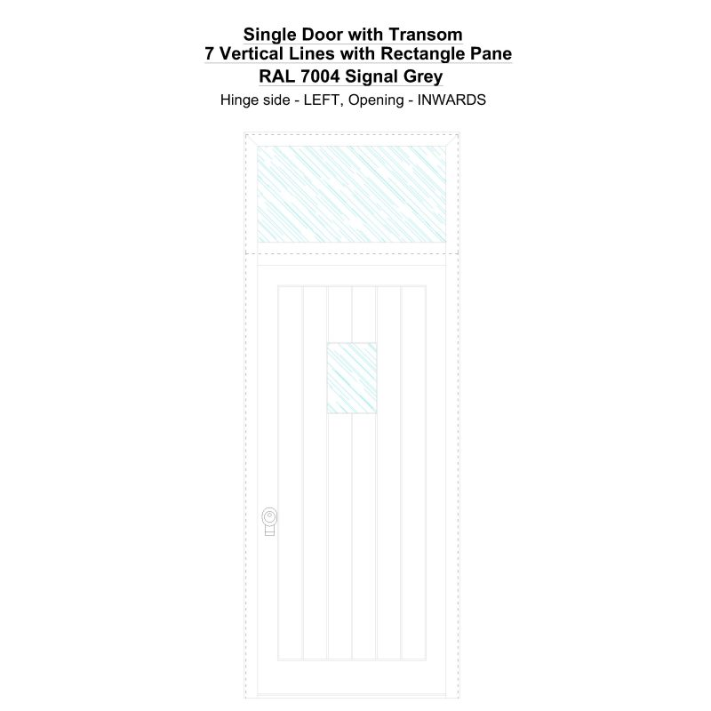 Sdt 7 Vertical Lines With Rectangle Pane Ral 7004 Signal Grey Security Door