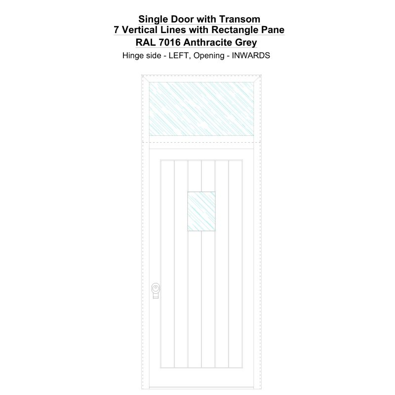 Sdt 7 Vertical Lines With Rectangle Pane Ral 7016 Anthracite Grey Security Door