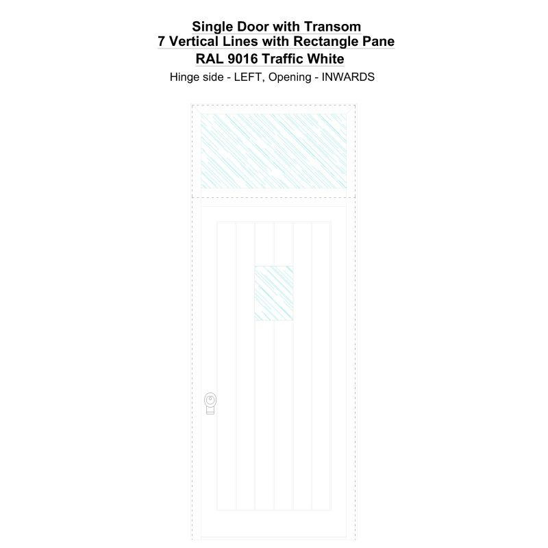 Sdt 7 Vertical Lines With Rectangle Pane Ral 9016 Traffic White Security Door