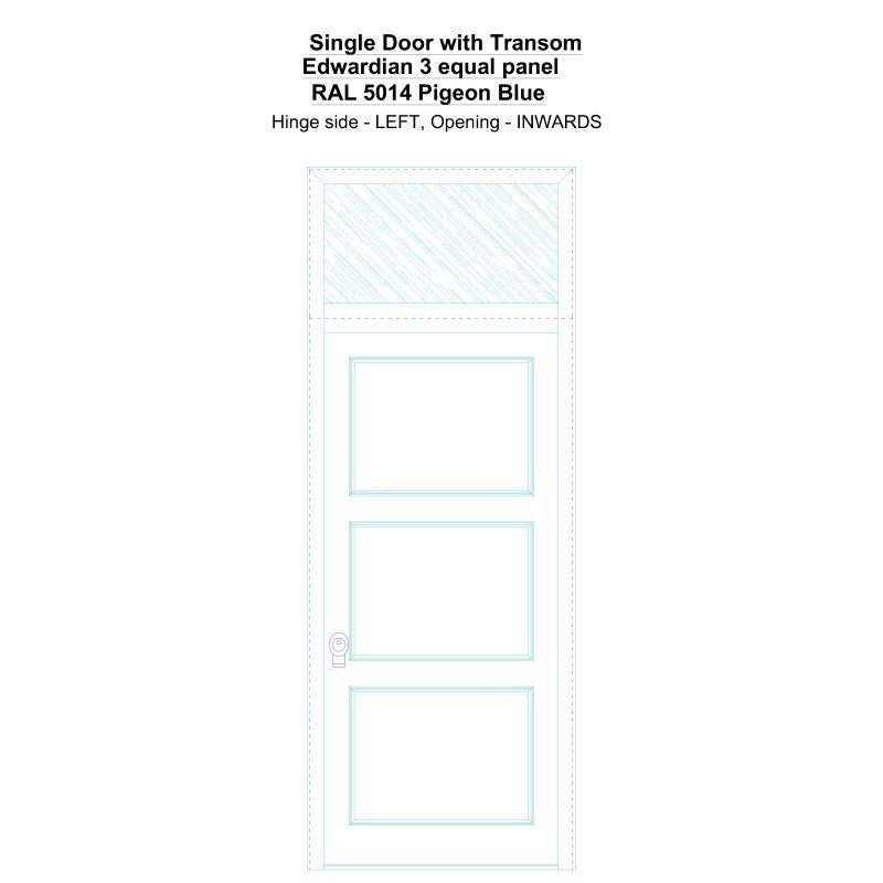 Sdt Edwardian 3 Equal Panel Ral 5014 Pigeon Blue Security Door