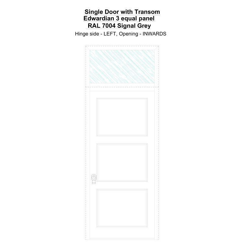 Sdt Edwardian 3 Equal Panel Ral 7004 Signal Grey Security Door