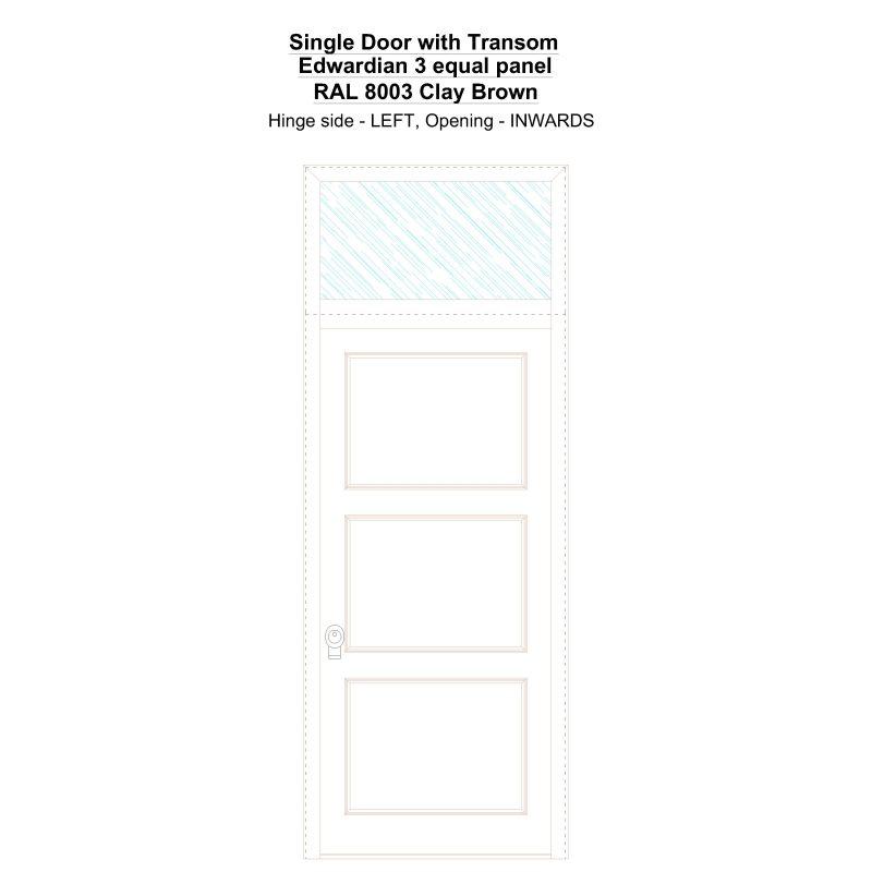 Sdt Edwardian 3 Equal Panel Ral 8003 Clay Brown Security Door