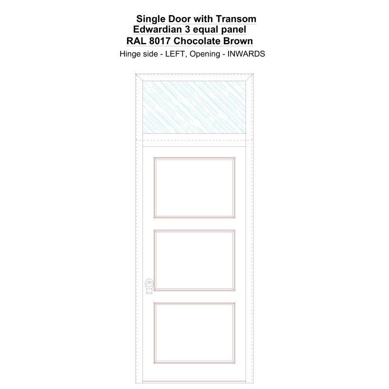 Sdt Edwardian 3 Equal Panel Ral 8017 Chocolate Brown Security Door