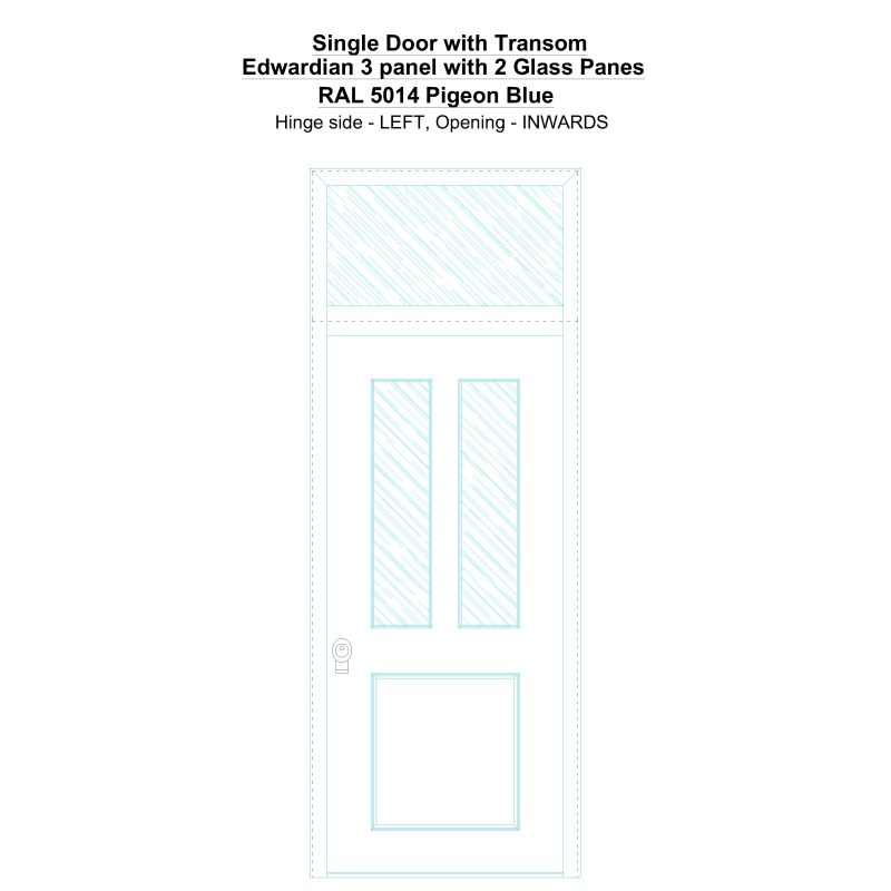 Sdt Edwardian 3 Panel With 2 Glass Panes Ral 5014 Pigeon Blue Security Door