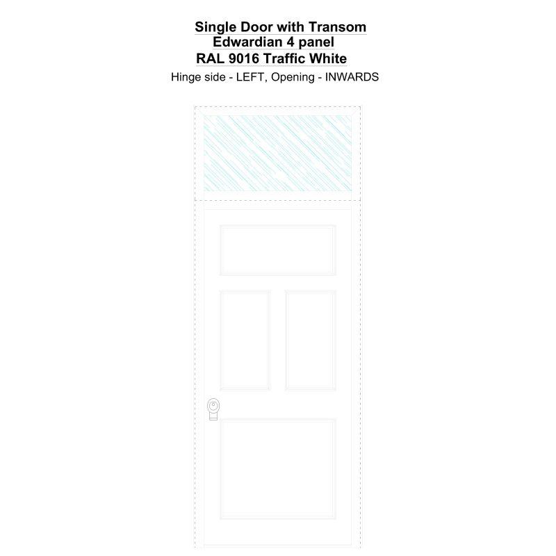 Sdt Edwardian 4 Panel Ral 9016 Traffic White Security Door
