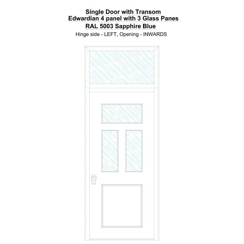 Sdt Edwardian 4 Panel With 3 Glass Panes Ral 5003 Sapphire Blue Security Door