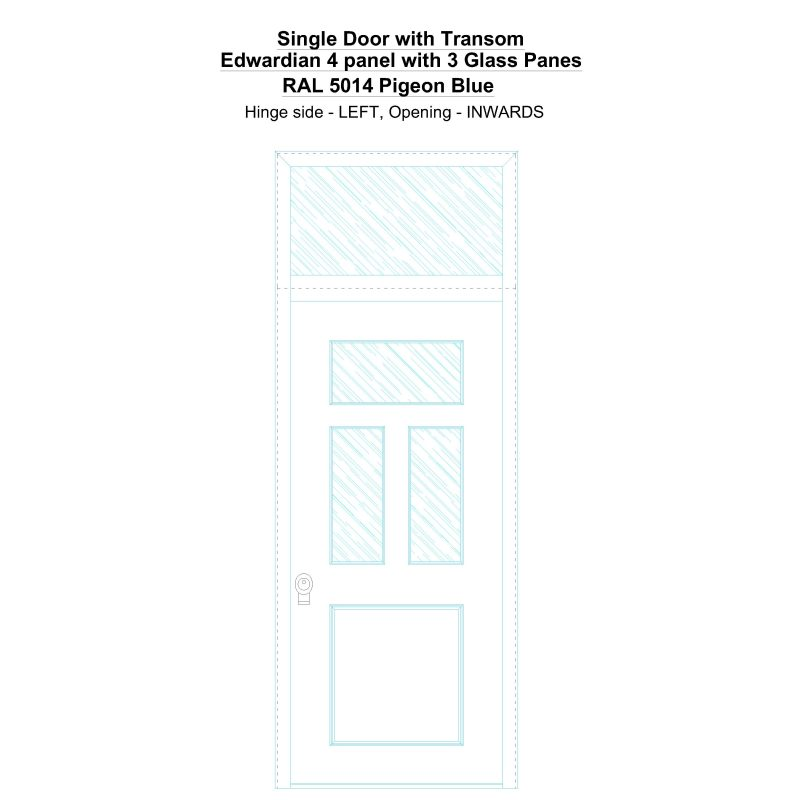 Sdt Edwardian 4 Panel With 3 Glass Panes Ral 5014 Pigeon Blue Security Door