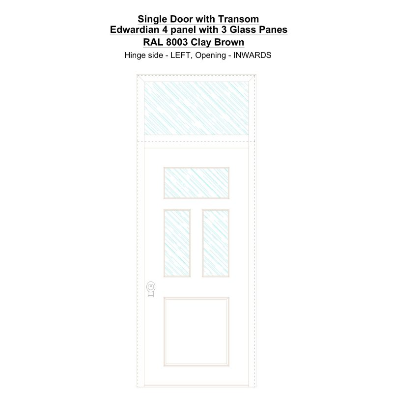 Sdt Edwardian 4 Panel With 3 Glass Panes Ral 8003 Clay Brown Security Door
