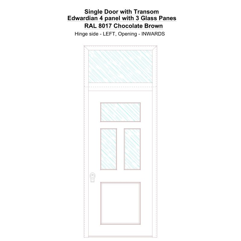 Sdt Edwardian 4 Panel With 3 Glass Panes Ral 8017 Chocolate Brown Security Door