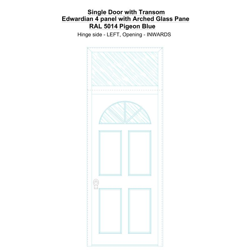 Sdt Edwardian 4 Panel With Arched Glass Pane Ral 5014 Pigeon Blue Security Door