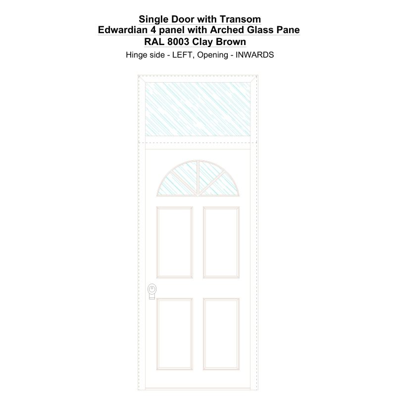 Sdt Edwardian 4 Panel With Arched Glass Pane Ral 8003 Clay Brown Security Door