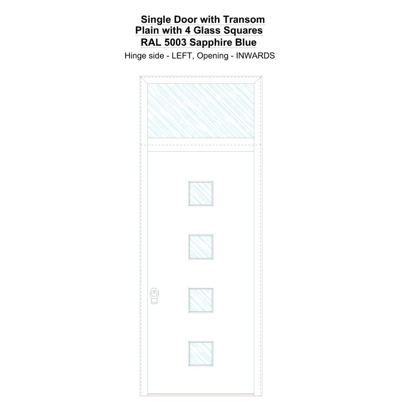 Sdt Plain With 4 Glass Squares Ral 5003 Sapphire Blue Security Door