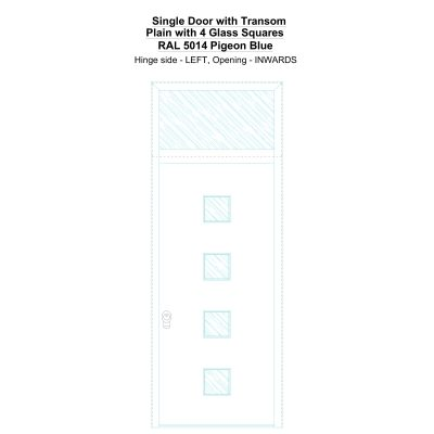 Sdt Plain With 4 Glass Squares Ral 5014 Pigeon Blue Security Door