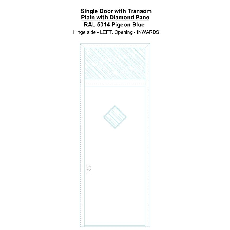 Sdt Plain With Diamond Pane Ral 5014 Pigeon Blue Security Door