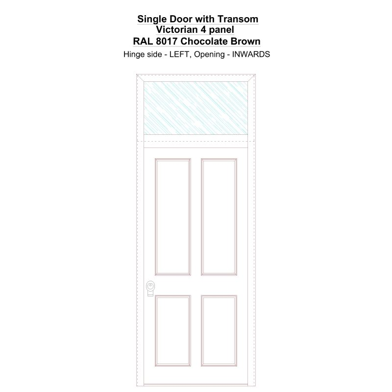 Sdt Victorian 4 Panel Ral 8017 Chocolate Brown Security Door