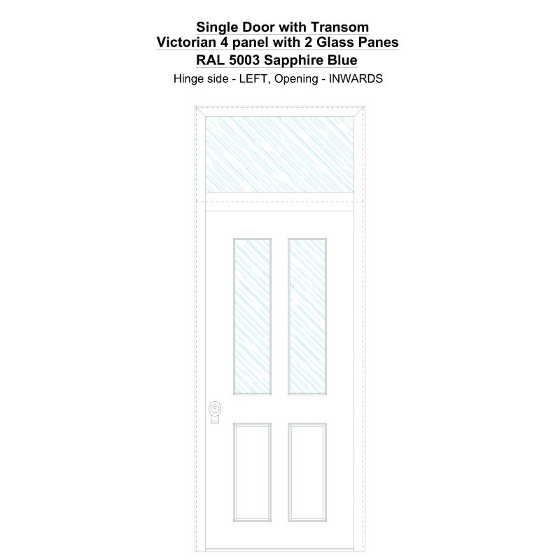 Sdt Victorian 4 Panel With 2 Glass Panes Ral 5003 Sapphire Blue Security Door