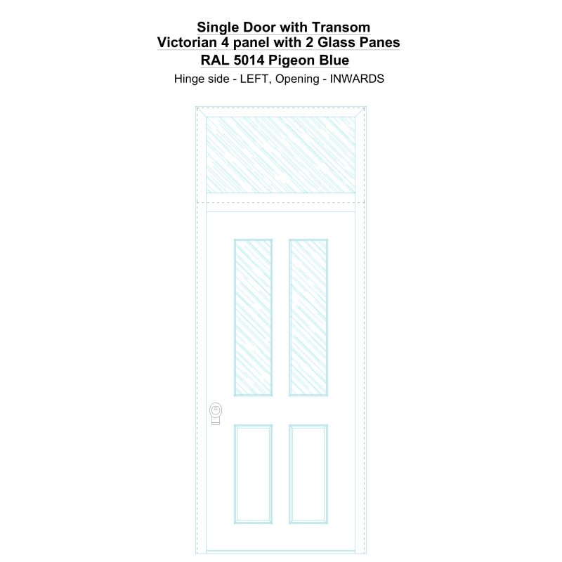 Sdt Victorian 4 Panel With 2 Glass Panes Ral 5014 Pigeon Blue Security Door